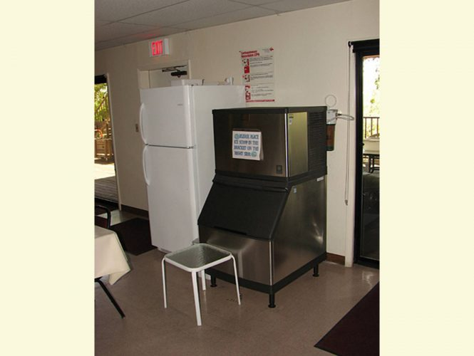 On a hot summer day, the big ice machine is a welcome sight