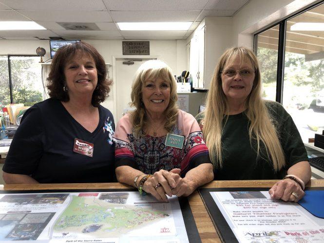 Our Office: (left to right) Volunteer Debbie Herd, Office Manager Deborah  Hall, Park Manager Yvette Tuggle