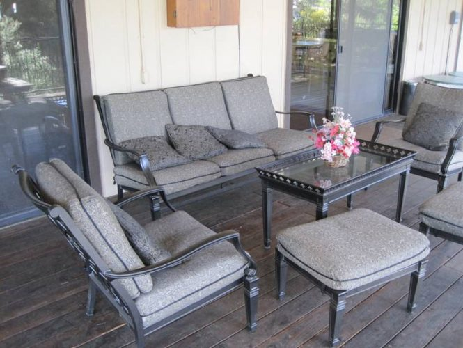 Enjoy fresh air and shade on our rear deck.