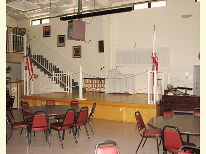 Our main hall landing is home to event entertainment and park meetings.  Tuesday night Bingo setup is covered at the rear.