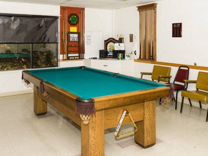 Our newly remodeled Games Room boast two pool tables and dart boards.